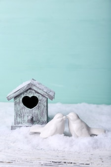 Beautiful composition with small bird house