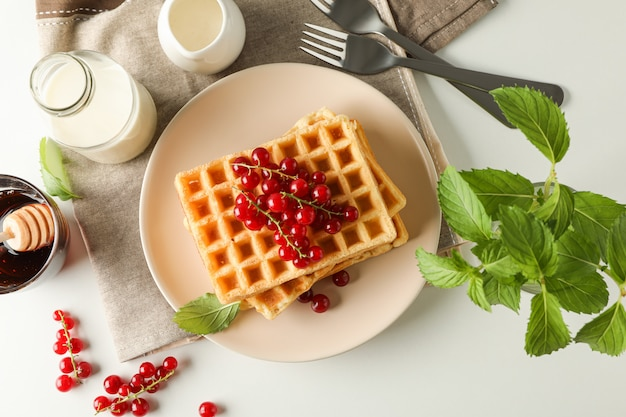 Beautiful composition with sweet belgian waffles