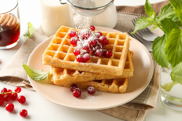 Beautiful composition with sweet waffles