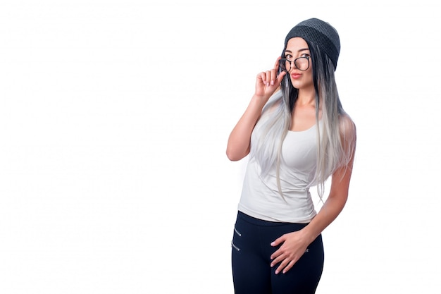 Beautiful cool girl wearing colored hair extensions and glasses