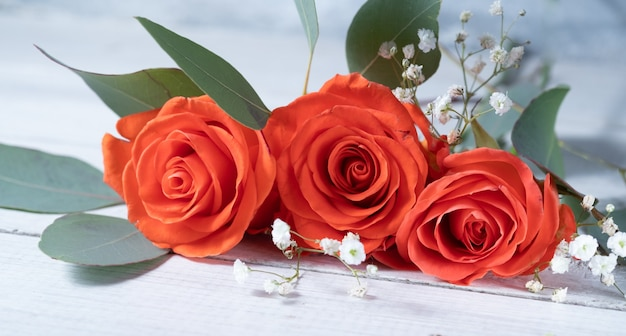 Красивые коралловые розы и эвкалипт на белом деревянном столе.