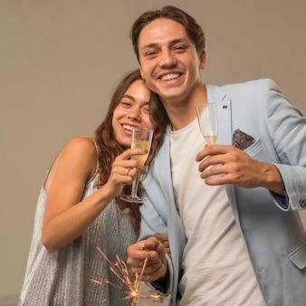 Beautiful couple celebrating new year eve