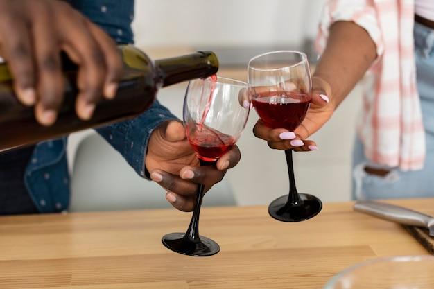 Beautiful couple enjoying a glass of wine together
