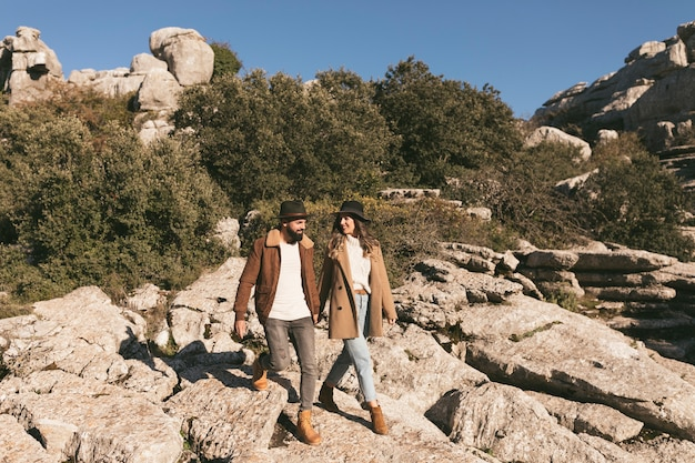 Beautiful couple having a mountain trip