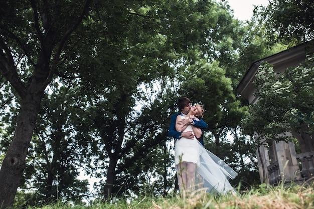 公園の美しいカップル