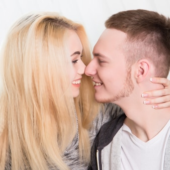 Beautiful couple in love in the home
