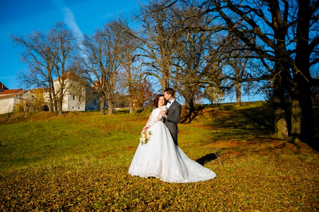 Красивая пара счастливых стильных молодоженов на прогулке в солнечный летний парк или сад в день своей свадьбы
