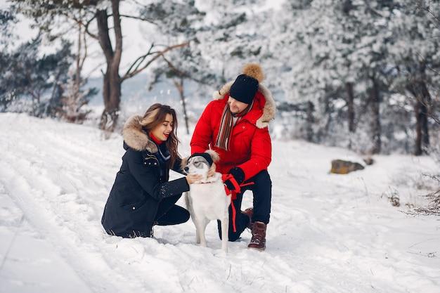 Красивая пара играет с собакой