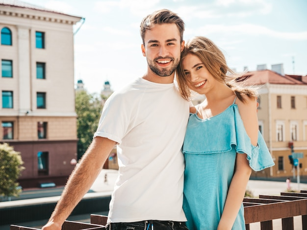 Beautiful couple posing at the street