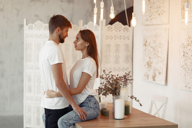 Beautiful couple spend time at home