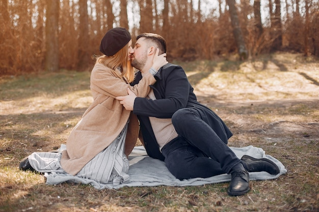 Beautiful couple spend time in a park