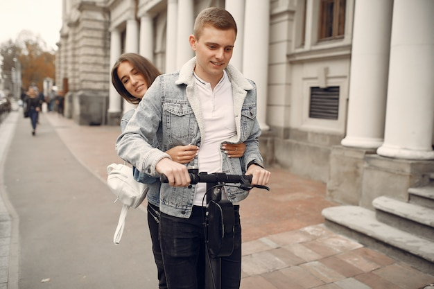 Beautiful couple spend time in the street