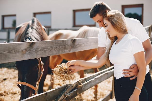 美しいカップルは馬と過ごす