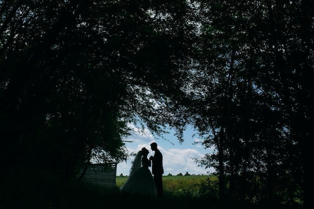 Bella coppia nel bosco su uno sfondo di disboscamento sul campo