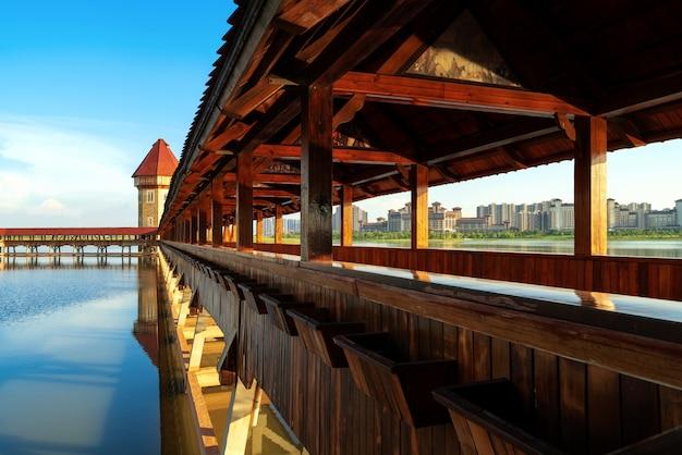 Beautiful covered bridge in the river