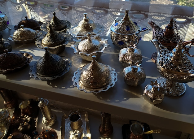 Beautiful crimean tatar metal brass dishes with chasing for sweets and coffee
