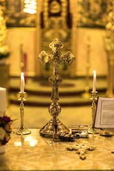 Beautiful cross inside romanian church at wedding time
