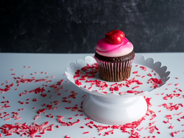 Beautiful cupcake on the table for valentines day