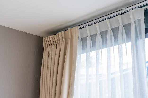 リングトップレール付きの美しいカーテン、リビングルームのカーテンの室内装飾