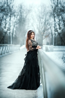 Beautiful dark queen. girl gothic princess with a crown in a long dark dress.