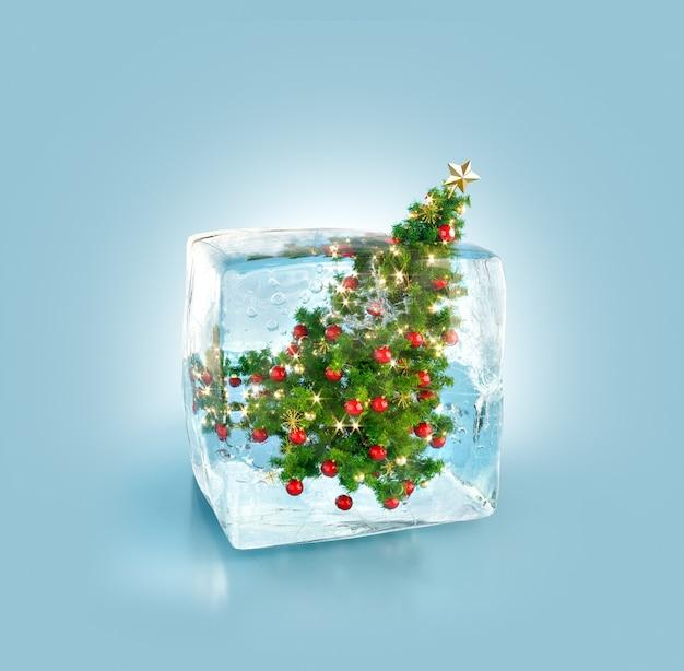 アイスキューブ内の美しい装飾されたクリスマスツリー。珍しい3dイラスト。クリスマスのコンセプト