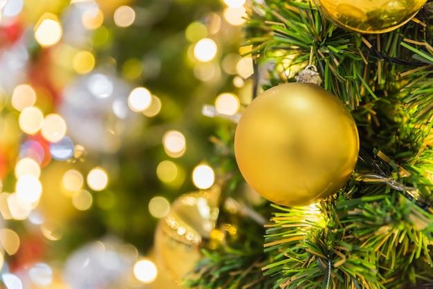 Beautiful decoration christmas tree on bokeh background.