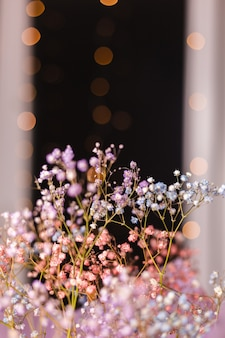 Beautiful decoration cute little dried colorful flowers on dark black, wallpaper.