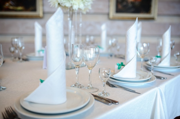 Beautiful decoration of the table for the wedding.