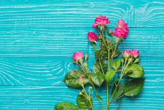 Beautiful decorative flowers on wooden surface