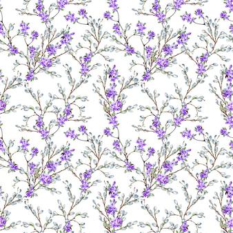 Красивый нежный весенний бесшовные модели из реалистичных ивовых и сиреневых ветвей. акварельные иллюстрации