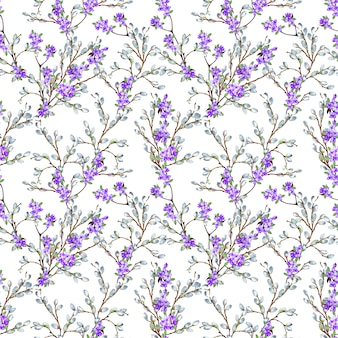 Beautiful delicate spring seamless pattern of realistic willow and lilac branches. watercolor illustration.