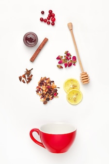 Beautiful and delicious dried tea leaves with herbs, flowers, berries and fruits