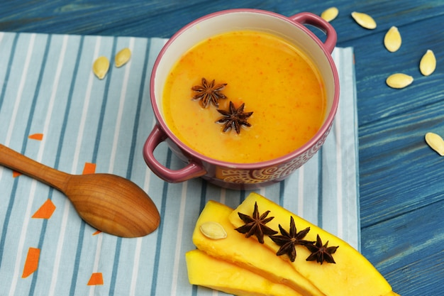 Beautiful delicious meal of mashed pumpkin soup