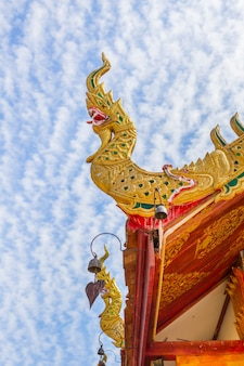 Beautiful design northern thai temple roof.