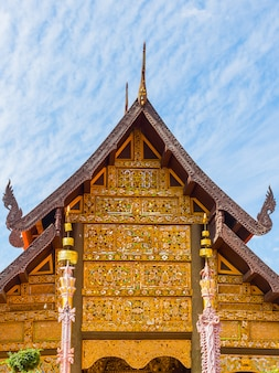 Beautiful design northern thai temple roof of