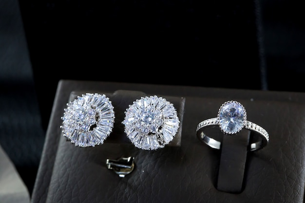 Beautiful diamond engagement ring and diamond stud earrings