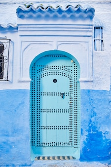 Beautiful diverse set of blue doors of blue city