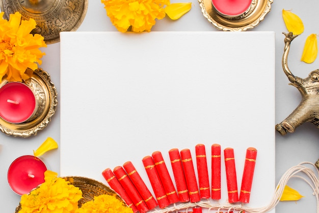 Beautiful diwali concept with copy space