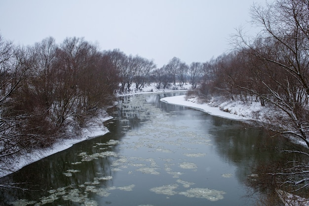 Beautiful dniester river and snow winter landscape