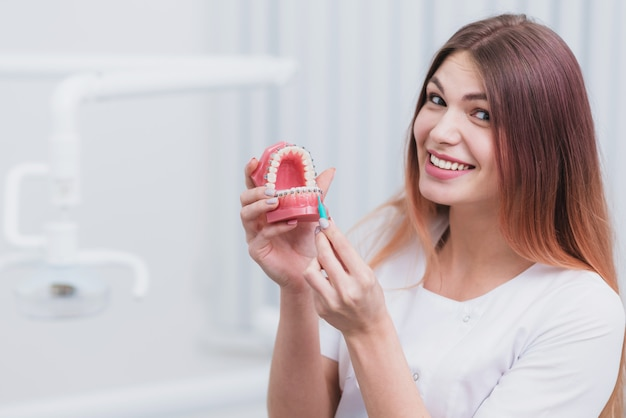 Beautiful doctor orthodontist shows you how to care for your teeth