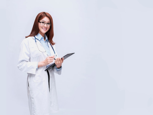 A beautiful doctor who can be both a dentist, a surgeon, a beauty doctor.