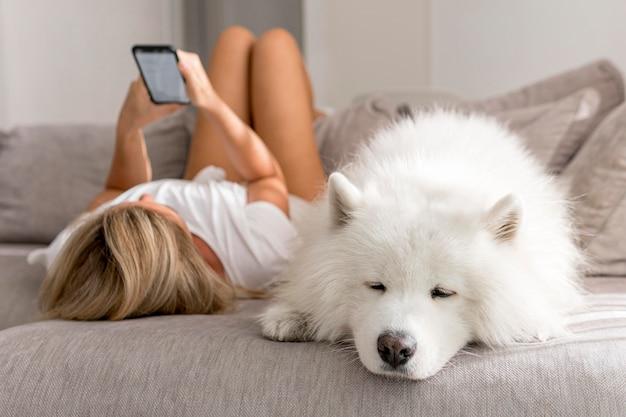 아름 다운 강아지와 집에있는 여자