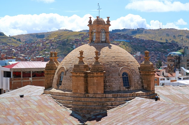 Beautiful dome of the cathedral basilica of st. charles borromeo, cathedral of puno, peru
