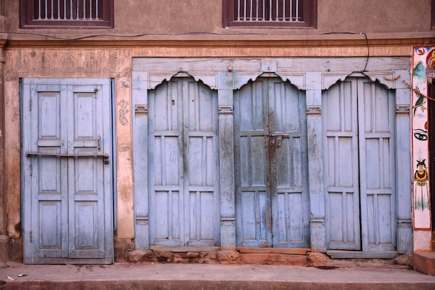 Beautiful doors and classic windows in native house of nepal