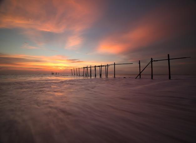 Beautiful dramatic sky sunset at the beach
