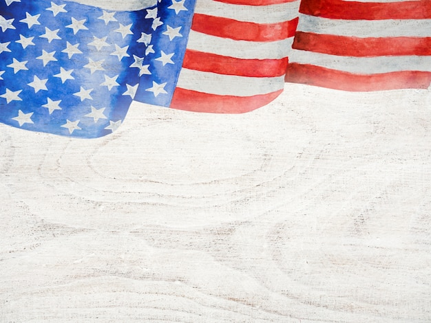 Beautiful drawing of the american flag. closeup