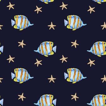 Красивый рисунок ярких рыбок. картина написана акварелью. крупный план