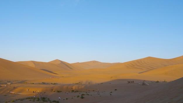 Beautiful dusk landscape view of desert in dunhuang gansu china