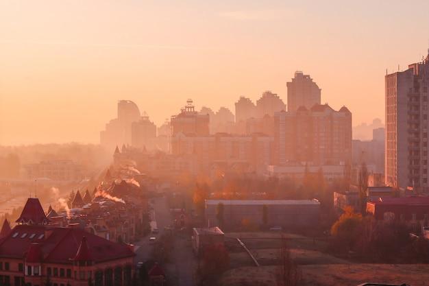 Beautiful early autumn morning sunrise over kiev city