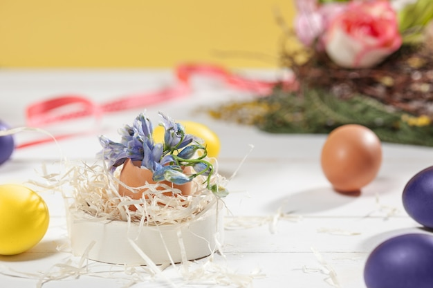 Beautiful easter table setting composition.